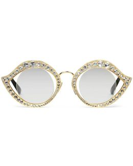 Cat Eye Metal Glasses With Crystals