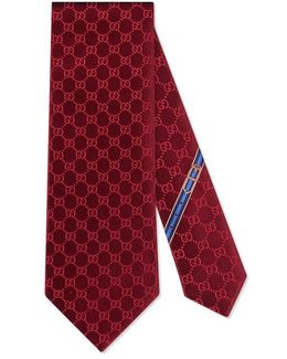 Gg Patterned Silk Tie