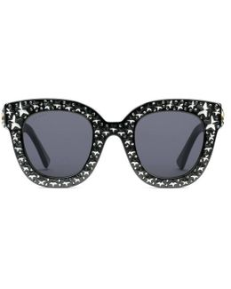 Cat Eye Acetate Sunglasses With Stars