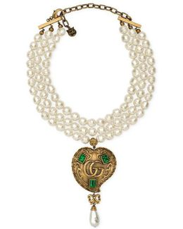 Pearl Necklace With Heart Pendant