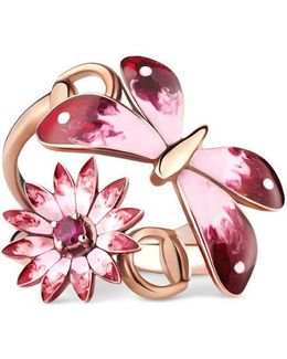 Flora Ring In Rose Gold, Enamel And Rubies
