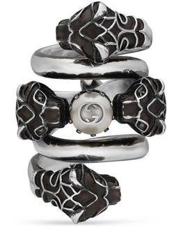 Double Wrap Ring With Tiger Heads