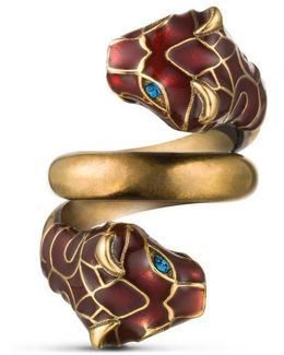 Tiger Head Ring With Enamel