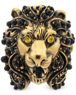 Lion Head Ring With Crystals
