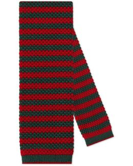 Striped Wool Knit Tie With Bee