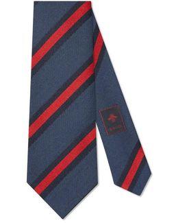 Regimental Stripe Silk Cotton Tie