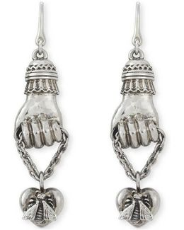 Earrings In Silver With Hand
