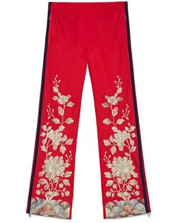 Jersey Pant With Gold Embroidery