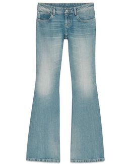Washed Stretch Denim Flare Pant
