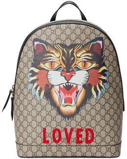 Angry Cat Print Gg Supreme Backpack