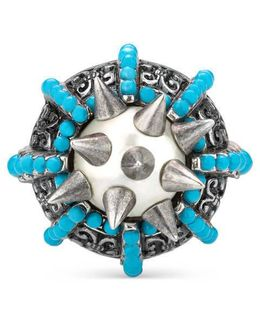Ring With Spikes And Beads