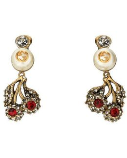Flower Earrings With Crystals