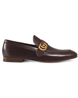 Leather Loafer With Gg Web