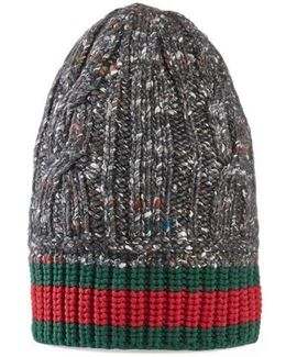Cable Knit Hat With Web