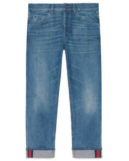 Tapered Denim Pant With Web