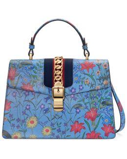 Sylvie New Flora Leather Top Handle Bag