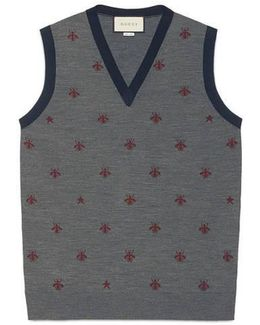 Wool Waistcoat With Bees And Stars