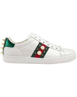 Ace Pearl And Stud-Detail Leather Trainers