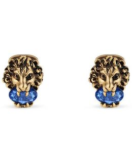 Lion Head Cufflinks With Crystals