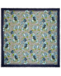 Gg Blooms Print Modal-silk Shaw