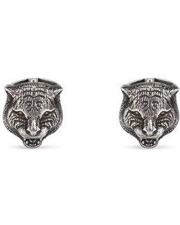 Feline Head Cufflinks In Silver