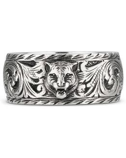 Thin Silver Ring With Feline Head