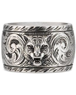 Wide Silver Ring With Feline Head