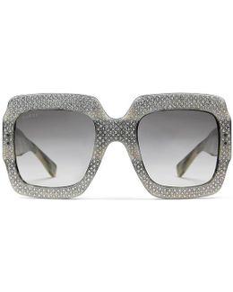 Oversize Square-frame Rhinestone Sunglasses