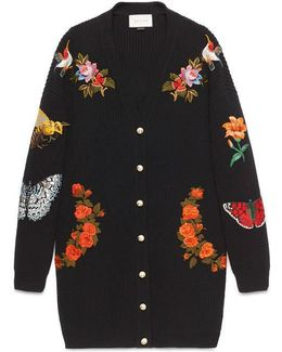 Oversized Embroidered Ribbed Wool Cardigan