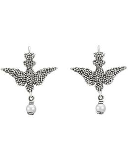 Earrings In Silver With Glass Pearls