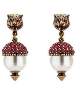 Feline Earrings With Crystals