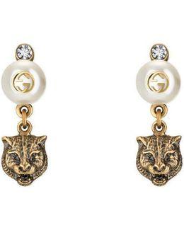 Feline Earrings With Resin Pearls