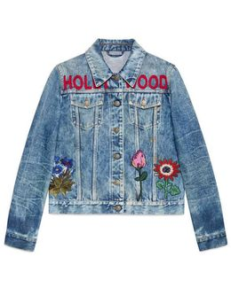 Embroidered Stained Denim Jacket