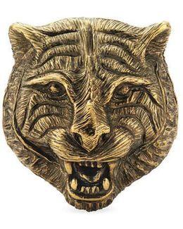 Feline Head Ring In Metal