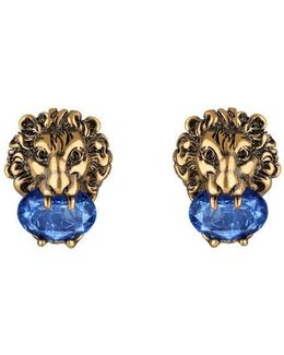 Lion Head Earrings With Crystals
