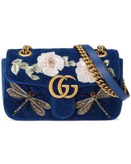 Gg Marmont Embroidered Velvet Mini Bag