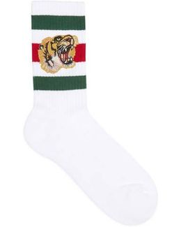 Stretch Cotton Socks With Tiger