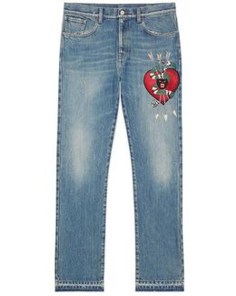 Denim Straight Pant With Embroidery