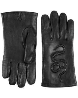 Snake Embossed Leather Gloves