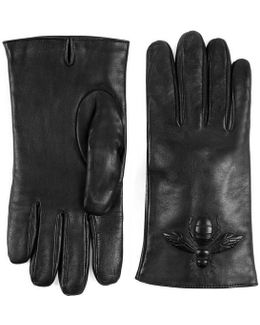 Bee Embossed Leather Gloves