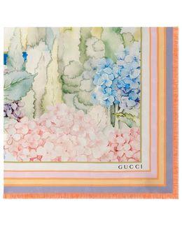 Hydrangea Print Silk Scarf