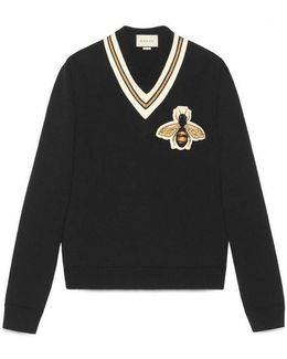Wool Sweater With Bee Appliqué