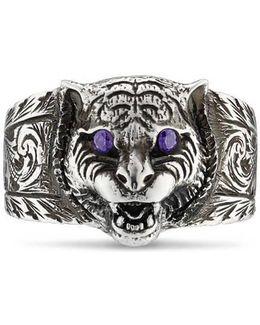 Feline Head Ring In Silver