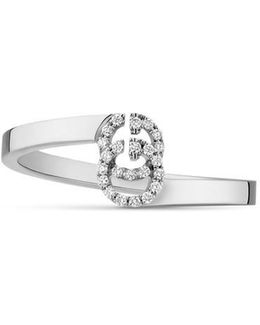 Gg Ring In White Gold With Diamonds