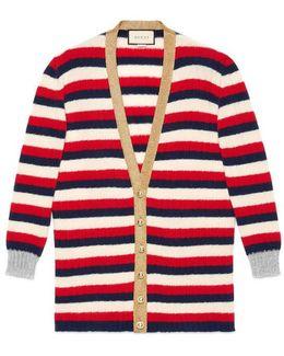 Oversize Striped Cashmere Merino Cardigan