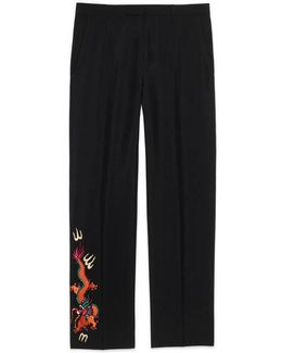 Wool Mohair Pant With Embroidery