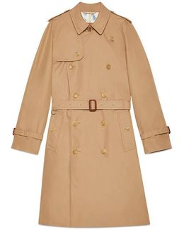 Gabardine Embroidered Trench Coat