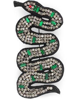 Embroidered Snake Brooch