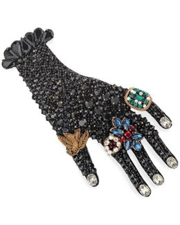 Hand Brooch In Metal With Glass Beads