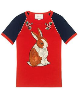 Raglan T-shirt With Bunny Appliqué